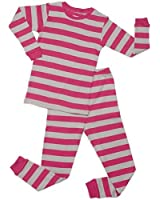 "Leveret ""Little Girl"" Striped 2 Piece Pajama Set 100% Cotton (Size 6M-5T)"