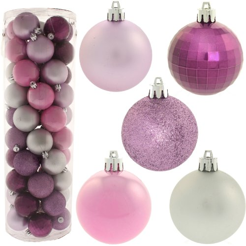 50 Piece Colour Co-ordinated Christmas Tree Bauble Pack - Purple / Pink / Silver