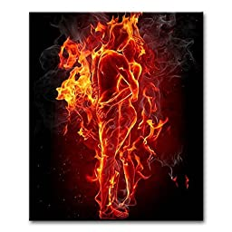 Canval prit painting Abstract Wall Art Fire Man and Woman Couple Embrace Together and Kissing Picture on Canvas