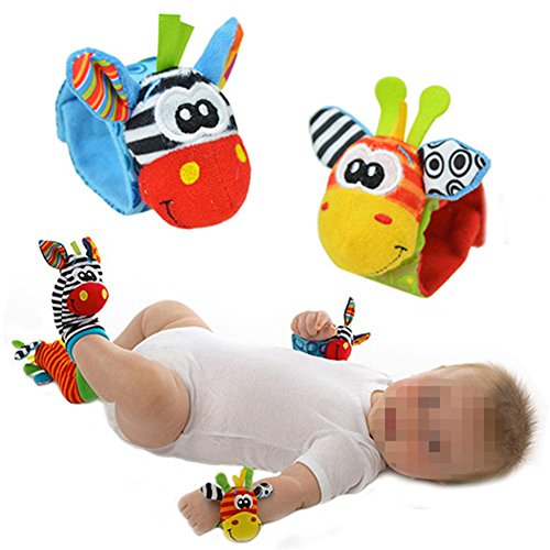 Cute Baby Wrist Rattle Foot Finder Toy (Wrist Rattles) - 1
