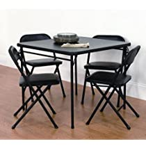 5 Piece Black,Card Table and Chair Set