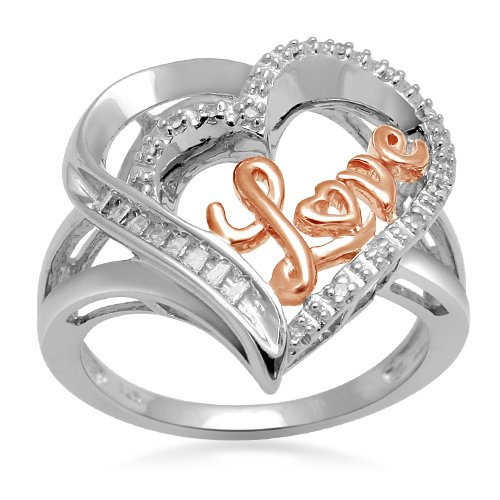 18k Rose Gold Plated Silver Diamond Heart Love Ring (0.08 cttw, I-J Color, I3 Clarity), Size 6