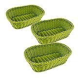 Colorbasket 31404-201 Hand Woven Waterproof Rectangular Basket, Mountain Green, Set of 3