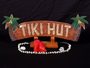 "WELCOME SIGN ""TIKI HUT"" W/ PALM TREES - TIKI BAR DECOR"