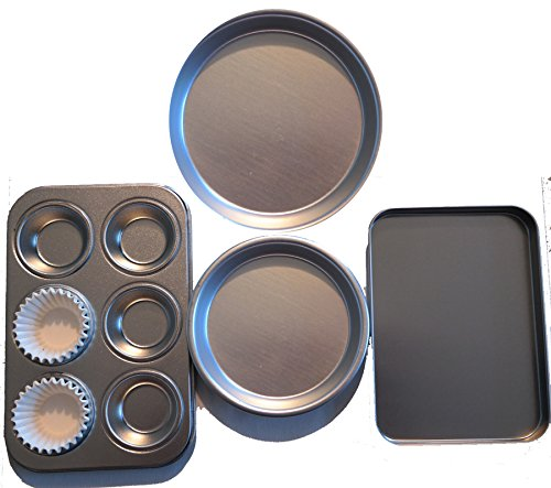 easy-oven-bake-cake-pan-4-pans-and-25-cup-cake-papers-set-includes-cupcake-pan-square-pan-and-2-roun