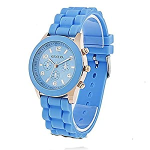 Unisex Geneva Silicone Jelly Gel Quartz Analog Sports Wrist Watch (Sky Blue)