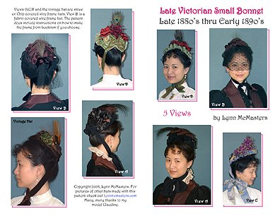 1885-1895 Late Victorian Small Bonnet Pattern