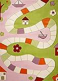 Little Helper IVI - Alfombra hipoalerg�nica grande y pila gruesa, dise�o por el rio, 160 x 230 cm, multicolor / rosa