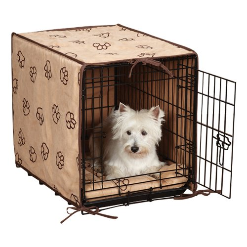 Proselect Polyester Pawprint Dog Crate Cover And Bed Set, Small, 2-Piece, Camel back-1029507