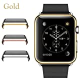 Josi Minea Apple Watch [42mm] Protective Snap-On Case with Built-in Clear Glass Screen Protector - Premium Anti-Scratch & Shockproof Shield Guard Full Cover for Apple Watch - 42mm [ Golden ] (Color: Golden)