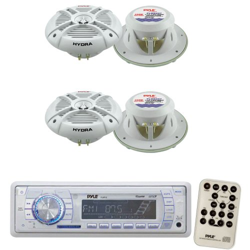 Pyle Marine Radio Receiver and Speaker Package - PLMR18 AM/FM-MPX PLL Tuning Radio w/SD/MMC Memory Card Slot & USB - 2x PLMRX67 2 Pairs of 250 Watt 6.5'' 2 Way Marine Water Resistant Speakers