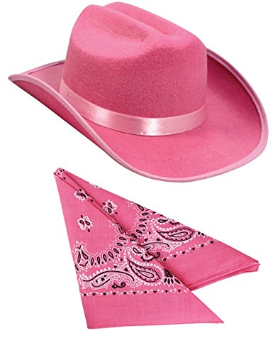 Kids Pink Cowboy Outlaw Felt Hat And Bandana Play Set Costume Accessory