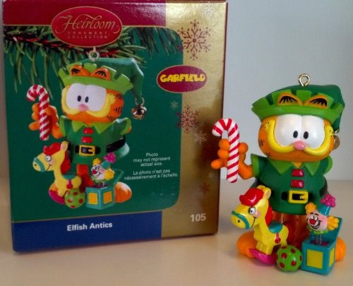Carlton Heirloom Collection Ornament (CXOR-105N) Garfield 'Elfish Antics' - 2005