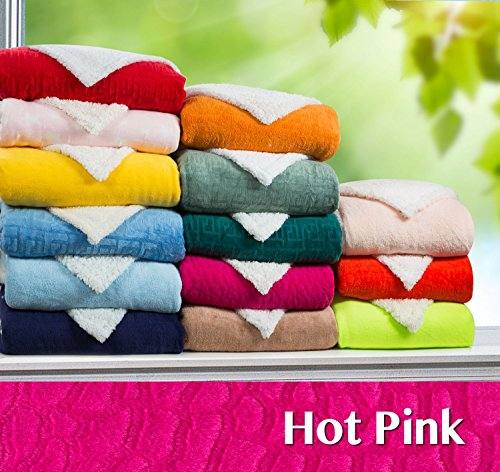 "Clara Clark ® Micro Mink Sherpa Reversible Throw Blanket, Full / Queen Size 78"" X 94"", Hot Pink"