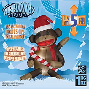 5-Foot Outdoor Sock Monkey Christmas LED Lighted Airblown Inflatable
