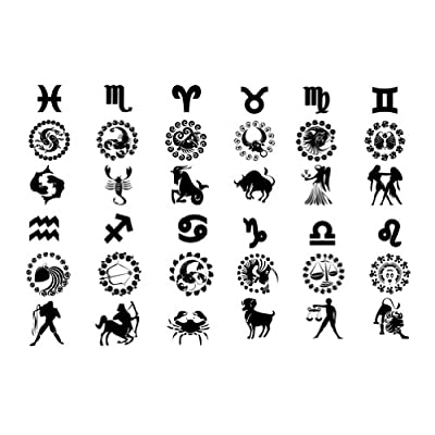 "Amazon.com : ""12 Astrological Signs"" Temporary Tattoo Waterproof Body"