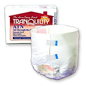 Tranquility Atn (All-Through-The-Night) Disposable Brief 45 to 58 in./33 fluid oz./Case of 96 by Principle Business Enterprises