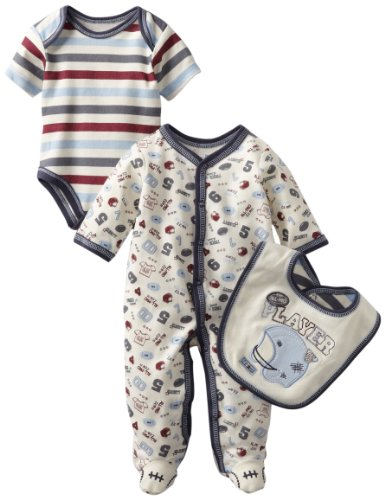 Vitamins Baby Boy's 3-Piece Footed Football Coverall Set, Ivory, 3M