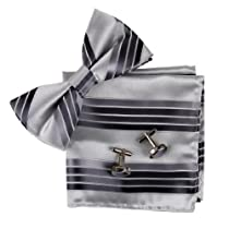 BT2084 Grey Stripes Discount Silk Pre-tied Bowtie Cufflinks Hanky Set By Epoint
