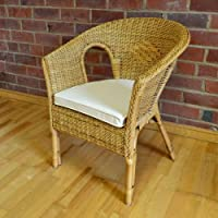 Hand Woven Wicker Rattan Bedroom Chair Seat Honey Colour With Cushion