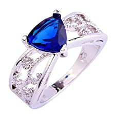 buy Psiroy 925 Sterling Silver Grace Womens Band Charms Gorgeous 9Mm*9Mm Triangle Cut Created Sapphire Quartz Filled Ring