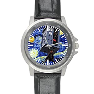 Dude Custom Doctor Who Men's Black Leather Alloy Watch water-resisting Perfect Gift for men