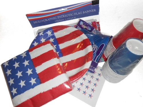 Stars And Stripes Party Supplies - Usa Flag Plates, Napkins, Silverware, Cups, Holographic Flag Banner, And 54 Hershey Kiss Labels