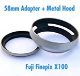 EzFoto 58mm Filter Adapter Ring and Metal Lens Hood for Fuji Finepix X100