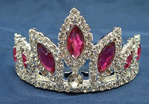 Girls Princess HALLOWEEN Costume Rhinestone Tiara Comb (Hot Pink) - 1