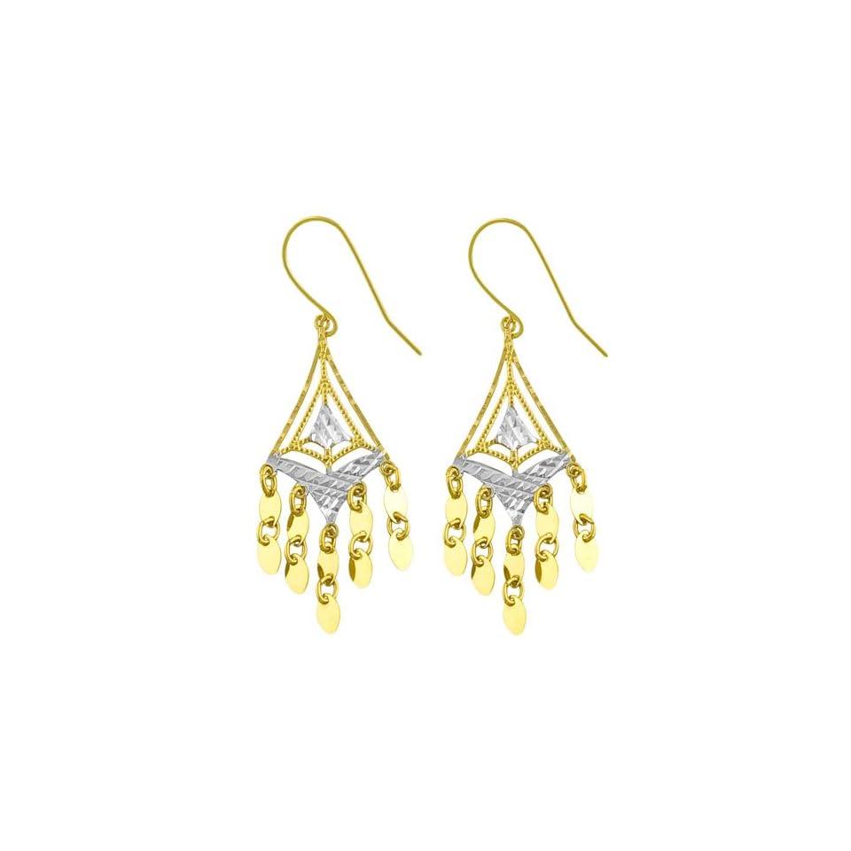 14 Karat Two tone Gold Diamond cut Chandelier Earrings Jewelry
