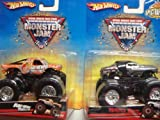 Hot Wheels Monster Jam 2 Popular Trucks: Spectraflames Dalmation Mutt & Bad News Travels Fast Scale 1/64