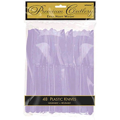 """Amscan Party Perfect Reusable Plastic Knives (48 Pack), Lavender, 11 x 6.7"""""""