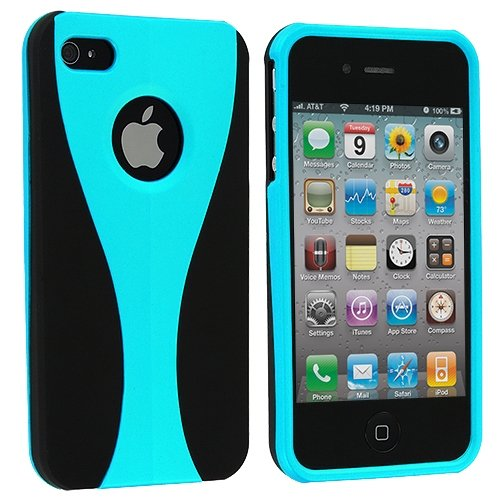 Cell Accessories For Less (Tm) Black / Baby Blue Hard Rubberized 3-Piece Case Cover For Apple Iphone 4 / 4S + Bundle (Stylus & Micro Cleaning Cloth) - By Thetargetbuys front-885659
