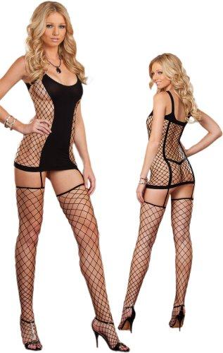 Sexy Black Fishnet Dress Lingerie Set - One Size