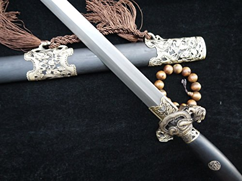Chinese sword/Pattern steel blade/Black wooden scabbard/Brass fittings/Collection Watch мечи longquan sword