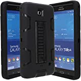 E LV T230 High Impact Resistant Full-body Protection Hybrid Armor Defender Case with Convertible Built in Stand for Samsung Galaxy Tab 4 - Black/Black