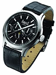 Arbutus Men's Automatic Watch with Black Dial Analogue Display and Black Leather Strap AR509SBB
