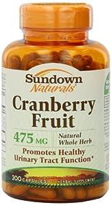 Sundown Naturals Naturals, Cranberry Fruit, 475 mg, 200 Capsule Bottle