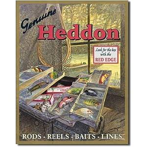 Heddon Fishing Tackle Box Lures Tin Sign Poster - 13x16 , 13x16