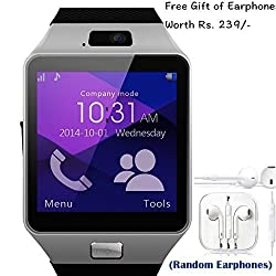 Apple iPhone 3G Compatible and Certified set of Earphones with Mic + DZ09 Bluetooth Smart Watch with SIM Card Slot and Memory Slot upto 16GB supported Watch Phone Remote Camera ( Get Mobile Charging Cable worth Rs 239 FREE & 180 days Replacement Warranty )