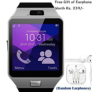 SAMSUNG S5 Mini Compatible and Certified set of Earphones with Mic + DZ09 Bluetooth Smart Watch with SIM Card Slot and Memory Slot upto 16GB supported Watch Phone Remote Camera ( Get Mobile Charging Cable worth Rs 239 FREE & 180 days Replacement Warranty )