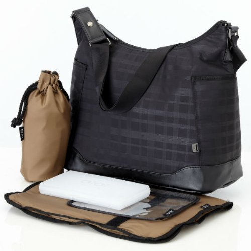 OiOi Changing Bag - The Hobo - Black Linear Check