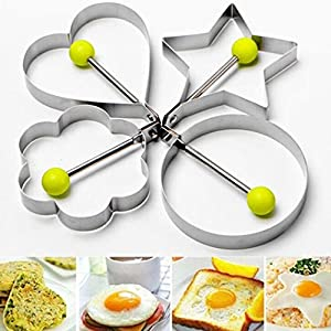 DaySeventh Stainless Steel Fried Egg Shaper Pancake Mould Mold Kitchen Cooking Tools Home Kitchen Dining & Bar (D, Silver)