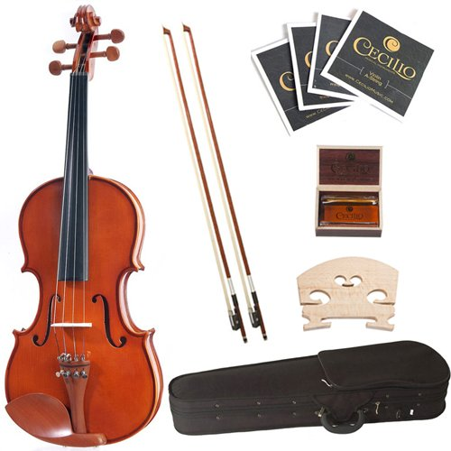 Cecilio CVN-200 Rosewood Fitted Solid Wood Violin + Hard Case, 2 Bows, Rosin & Extra Set of Strings & Bridge ~ Teacher Approved! in Size 1/8