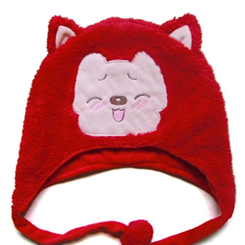 TopTie Weichtier Hut mit Ohrenklappen, Pelztier Hood Cap - Rot Fox2
