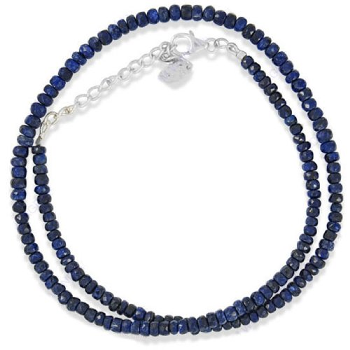 925 Sterling Silver Antique Style Natural Blue Sapphire 4-5 mm Gemstone Beads Beaded Strand 16 Inches Necklace Jewelry New