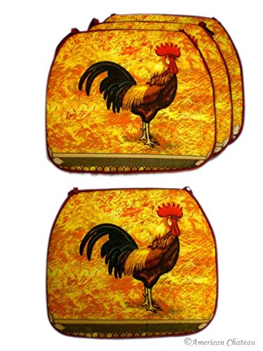 NEW 4 PC COVER SET Country Rooster Kitchen Cushion Chair Covers Pads HOME DECOR