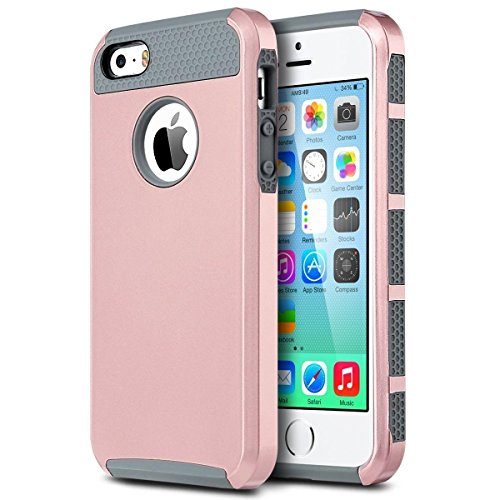 iPhone SE Case, iPhone 5s Case, NOKEA Slim Shockproof Hard Rugged Ultra Protective Back Rubber Cover Soft TPU Bumper&Hard Shell Solid PC Back, Anti-Scratch Hybrid Dual-Layer Slim Cover (Gold Grey) (Iphone 4s Cases Sewing Machine compare prices)