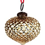 EarthenMetal Handcrafted Golden Coloured Christmas Decoratives / Glass Hanging Ball- 5 Inch