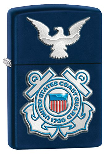 Zippo United States Coast Guard Logo Pocket Lighter, Navy Matte